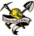 Coal miner hat shovel spade pickax mining vector