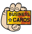 Hand holding business card vector