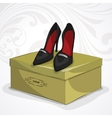 Classic womans leather black shoes vector