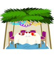 Sukkah for sukkot with food on table vector