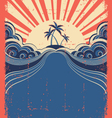 Tropical background with palms and sun on grunge vector