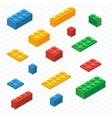 Do your self set of lego blocks in isometric view vector