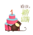 Monkey cake one years old with happy birthday vector