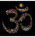 Grunge colourful religious hindu symbol om vector