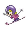 Girl skiing vector