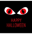 Evil red eyes in dark night happy halloween card vector