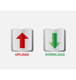 Upload and download button vector