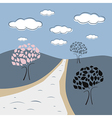 Abstract nature scene with trees road hills clouds vector