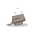 Isolated cartoon old busted graduation hat vector