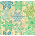 Seamless vintage green hand drawn pattern vector