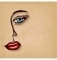 Woman face blue eyes red lips on old background vector