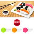 Sushi and bamboo mat vector