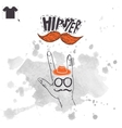 Vintage hand with hipster mustache vector