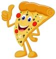Happy pizza cartoon with thumb up vector