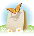 Butterfly on a bag vector