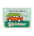Merry christmas tree car automobile vector
