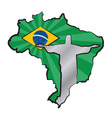 Map of brazil with flag and statue of jesus christ vector