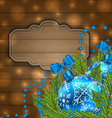 Wooden label with christmas balls and fir twigs - vector