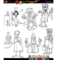 Scientists set cartoon coloring book vector