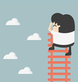 Businessman on ladder looking for success vector