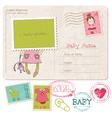 Baby girl greeting postcard vector