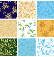 Set of various seamless patterns with flora vector