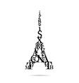 Typography eiffel tower vector
