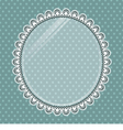 Lace oval frame with glass on the background polka vector