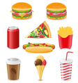 Set icons of fast food isolated on white backgroun vector