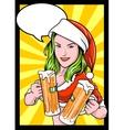 Christmas beer girl comics vector