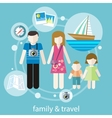 Happy family trip traveling vector