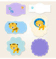 Cute safari animals tags collection for baby boy vector