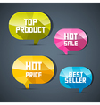 Colorful labels best seller top product hot sale vector