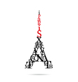 Typography eiffel tower vector