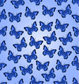 Seamless texture flight blue butterflies vector