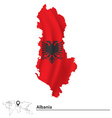Map of albania with flag vector