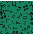Musical notes seamless pattern green vector