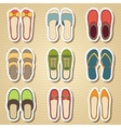 Set of nine woman shoes icon vector