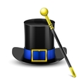 Black top hat with wand vector