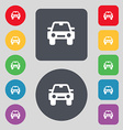 Auto icon sign a set of 12 colored buttons flat vector