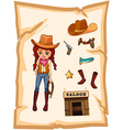A piece of paper with an image of a cowgirl and a vector