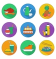 Flat icons of food and drinks vector