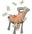A business cat with money cartoon vector