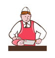 Butcher cutter with meat cleaver cutting vector