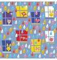 Cute animals watching rain pattern vector