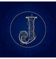 Vintage floral alphabet letter j vector