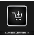 Shop sale shopping trolley icon silver metal vector