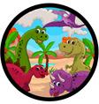 Funny dinosaur cartoon set vector