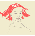 Beautiful woman face hand-drawn portrait vector