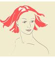 Beautiful woman face hand-drawn portrait vector